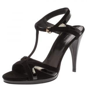 Gucci Black Suede And Patent Leather T- Strap Sandals Size 36.5