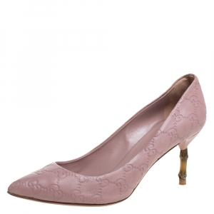 Gucci Pale Pink Guccissima Leather Kristen Bamboo Heel Pumps Size 38.5