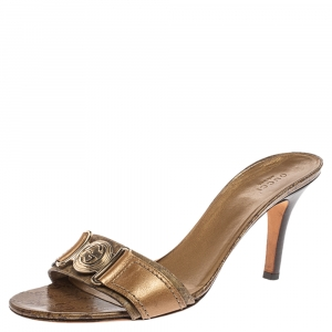 Gucci Golden Brown GG Crystal Canvas and Leather Interlocking G Buckle Slide Sandals Size 40.5