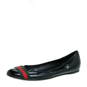 Gucci Black Patent Leather Web Ballet Flats Size 41