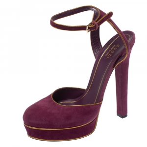 Gucci Purple Suede Platform Ankle Strap Sandals Size 38