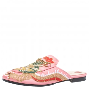 Gucci Pink Satin Dragon Embroidery Princetown Mule Flats Size 40
