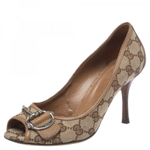 Gucci Beige/Brown GG Canvas Horsebit Peep Toe Pumps Size 37.5
