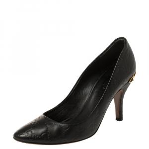 Gucci Black Guccissima Leather Adina Horsebit Pointed Toe Pumps Size 36