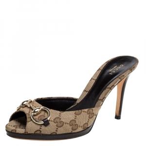 Gucci Beige/Brown Monogram Canvas Horsebit Open Toe Sandals Size 38