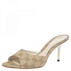 Gucci Beige GG Canvas Open Toe Slide Sandals Size 37