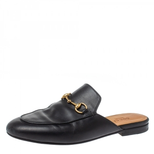 Gucci Black Leather Princetown Horsebit Flat Mules Size 36