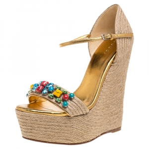 Gucci Beige Jute Metallic Gold Leather Trim Carolina Crystal Embellished Espadrille Platform Wedge Sandals Size 36