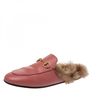 Gucci Pink Leather and Fur Lined Princetown Flat Mules Size 39