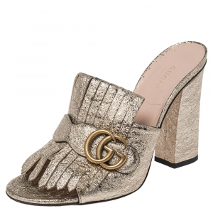 Gucci Gold Crackle Leather GG Marmont Fringed Slide Sandals Size 39.5