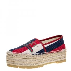 Gucci Multicolor Canvas And Leather Trim Sylvie Platform Espadrilles Size 38