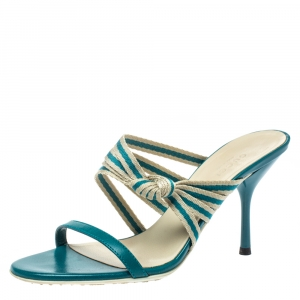 Gucci Teal Blue Fabric and Leather Mirabelle Slide Sandals Size 36