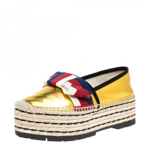 Gucci Metallic Gold Leather Sylvie Web Bow Espadrille Platform Flats Size 37