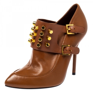 Gucci Brown Leather Alexandra Studded Ankle Boots Size 37.5 - used