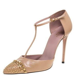 Gucci Beige Leather Coline Studded T-Strap Pointed Toe Pumps Size 41.5