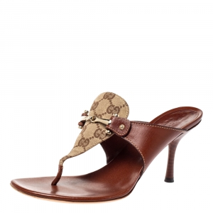 Gucci Brown Leather and GG Canvas Slide Sandals Size 38