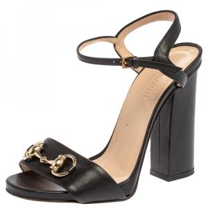 Gucci Black Leather Horsebit Ankle Strap Open Toe Block Heel Sandals Size 35.5 - used