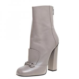 Gucci Grey Leather Lillian Horsebit Knee High Boots Size 41