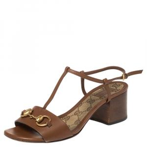 Gucci Brown Leather Horsebit Detail T-Strap Sandals Size 36