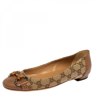 Gucci Brown/Beige GG Canvas And Leather Bamboo Horsebit Ballet Flats Size 35