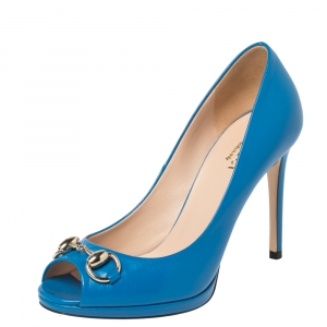 Gucci Blue Leather Horsebit Peep Toe Pumps Size 35.5