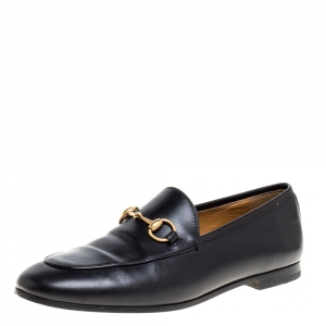 Gucci Black Leather Horsebit Betis Glamour Loafers Size 35.5