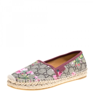 Gucci Multicolor GG Floral Canvas Slip On Espadrille Flats Size 35.5