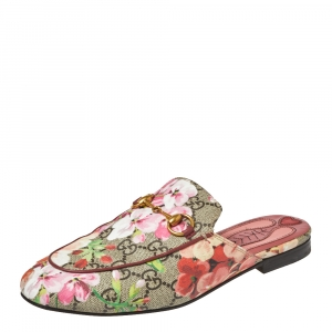 Gucci Pink GG Canvas Blooms Princetown Mule Sandals Size 36.5
