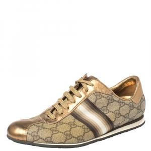 حذاء رياضى غوتشى منخفض من أعلى ويب جلد وكانفاس سوبريم ذهبى / بيج مقاس 39