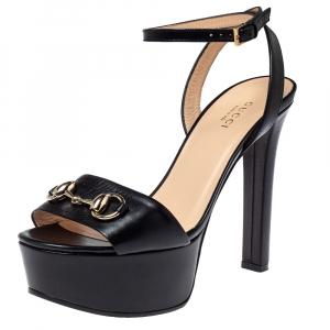 Gucci Black Leather Horsebit Platform Ankle Wrap Sandals Size 36.5 - used