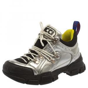 حذاء رياضى غوتشى منخفض من أعلى فلاشتريك شبك وجلد أسود / فضى مقاس 37