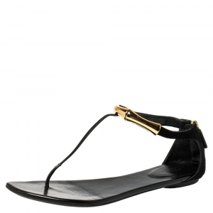 Gucci Black Suede Embellished Flat Thong Sandals Size 39.5 - used