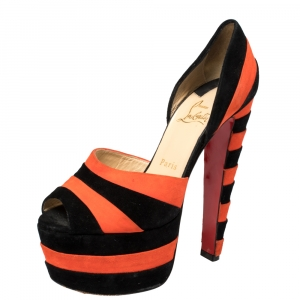 Christian Louboutin Black/Orange Suede Striped Platform Peep Toe Sandals Size 36 - used