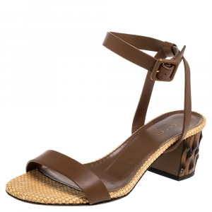 Gucci Brown Leather Dahlia Ankle Strap Sandals Size 37 - used