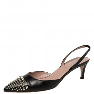 Gucci Black Leather Studded Pointed Toe Slingback Sandals Size 38.5 - used