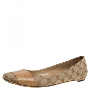 حذاء فلات باليه غوتشى غطاء مقدمة جلد سحلية وكانفاس جى جى بيج مقاس 41