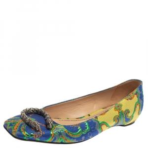 حذاء فلات باليه غوتشى ديونيسوس قماش بروكيد متعدد الألوان مقاس 37.5