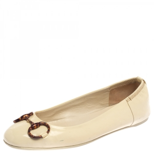 Gucci Cream Patent Leather Horsebit Ballet Flats Size 38 - used