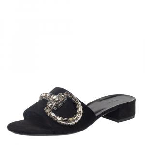 Gucci Black Suede Maxime Crystal Horsebit Slide Sandals Size 40 - used