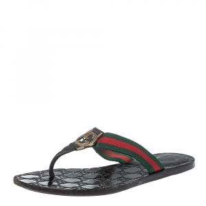Gucci Black Leather And Web Interlocking G Thong Flats Size 39