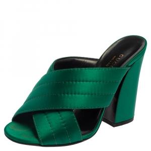 Gucci Green Satin Crisscross Mule Sandals Size 35.5 - used