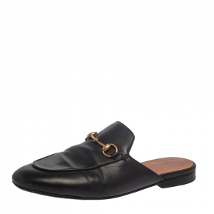Gucci Black Leather Princetown Sandals Size 38