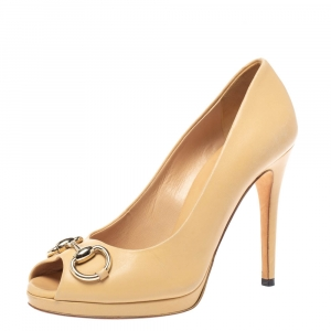 Gucci Beige Leather Jolene Horsebit Peep Toe Pumps Size 35