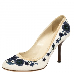 Gucci White Canvas Floral Embroidered Pumps Size 36.5
