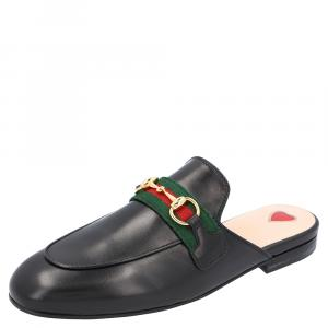 Gucci Black Leather Princetown Mules Size EU 35