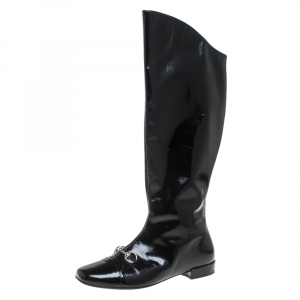 Gucci Black Patent Leather Horse Bit Knee Length Boots Size 35 - used