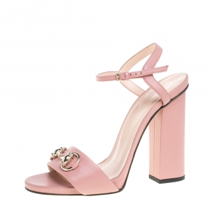 Gucci Pink Leather Horsebit Block Heel Ankle Strap Sandals Size 37