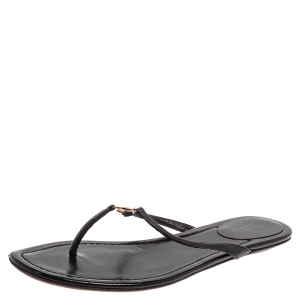 Gucci Black Leather Interlocking GG Thong Sandals Size 38 - used