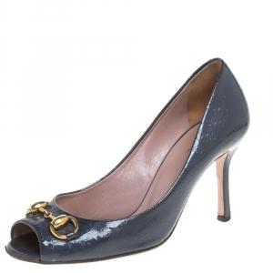 Gucci Grey Guccissima Patent Leather Horsebit Peep Toe Pumps Size 36.5