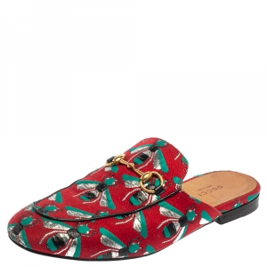 Gucci Tricolor Jacquard Fabric Horsebit Princetown Bees Flat Mules Size 37